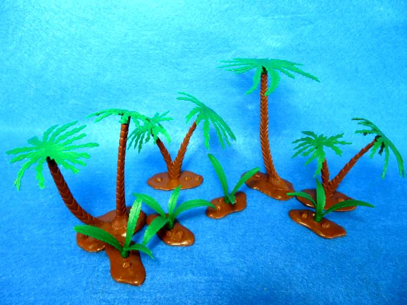 Palm Trees and Ferns 19 pieces (green leafs, brown trunks)  <font color=#CC0000>(54mm) </FONT>