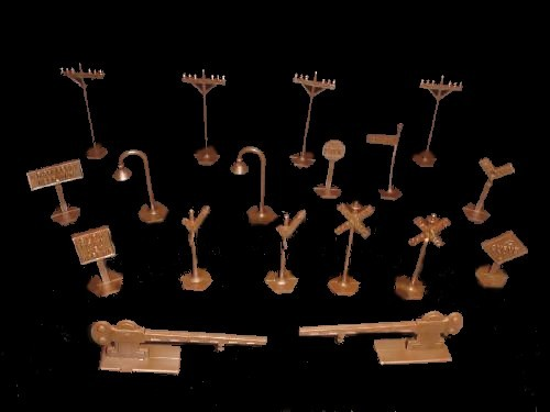 RailRoad accessories (brown) signs, street lights, etc....18 pieces  <font color=#CC0000>(45mm) </FONT>