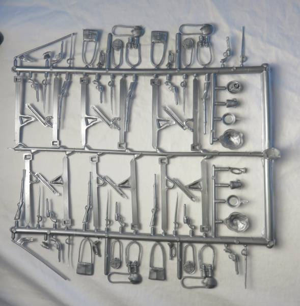 Marx Civil War + western cavalry weapons+accessories sets,Silver, 70 pcs, 1:32