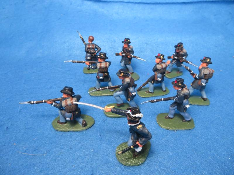 Hand Painted Plastic Figures: 54MM Civil War Union 10 figures in 10 poses