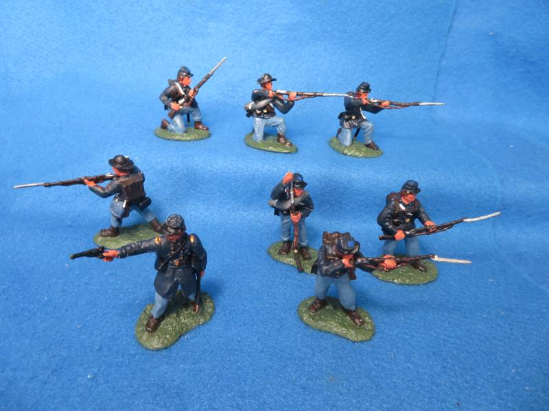Hand Painted Plastic Figures: 54MM Conte Civil War Figures: Union 8 figures in 8 poses