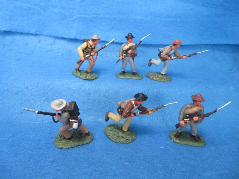 Hand Painted Plastic Figures: 6 Conte Confederates in 3 poses