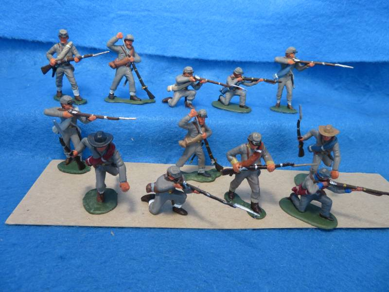 Hand Painted Plastic Figures: Confederate firing line 12 figures in 6 poses 10 Marx figures and 2 Imex figures