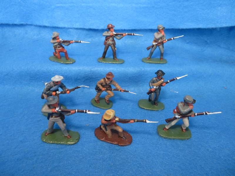 Hand Painted Plastic Figures Confederate Firing Line 9 figures in 7 poses figures are by Conte, Armies in Plastic and Accurate
