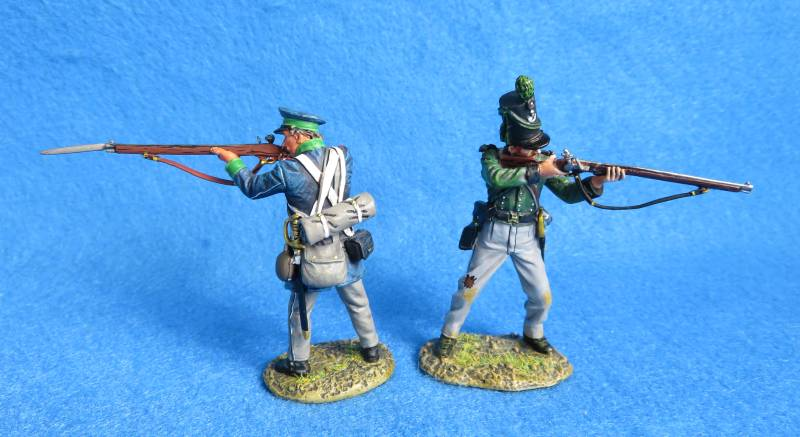 Thomas Gunn two Napoleonic riflemen, KGL + Prussian, metal, 1/30