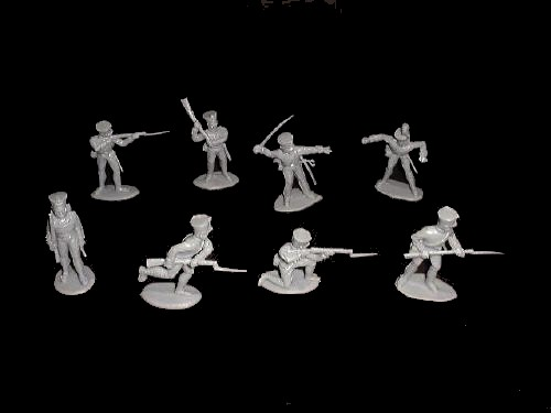 Prussian Infantry 16 figures in 8 poses (gray)  <font color=#CC0000>(54mm) </FONT>