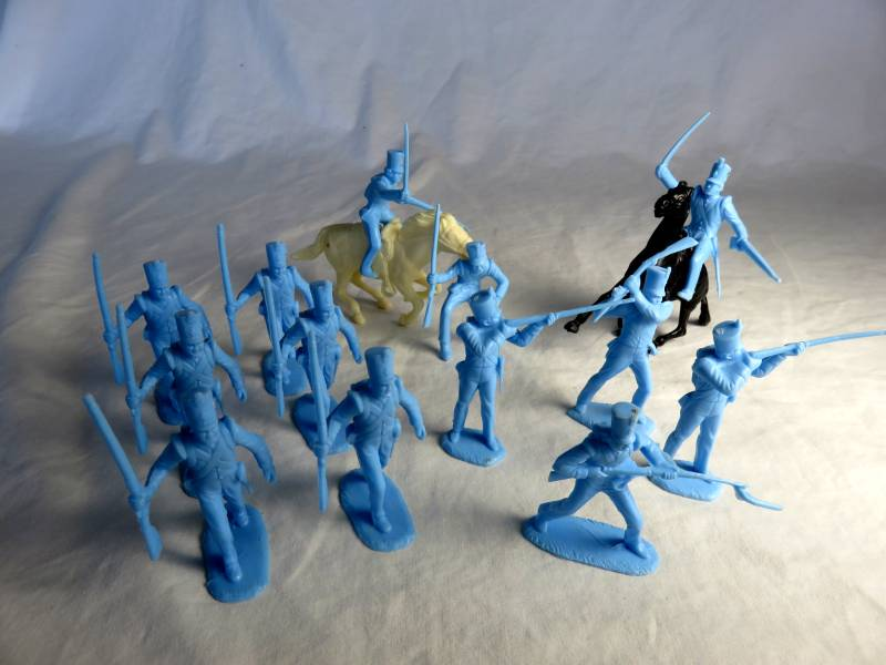 Marx original Heritage playset Alamo Mexicans w/shako hats, 54mm, light blue