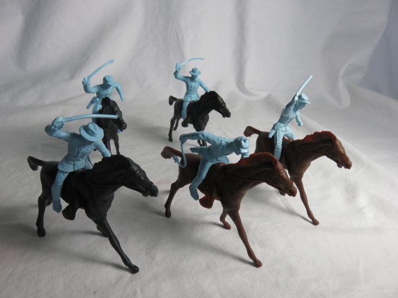 Marx vintage Civil War Union cavalry, 54mm, 5 in 3 poses