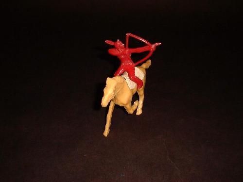 TIMMEE TOY Indian mounted w/bow (original) w/horse and blanket (colors vary)   <font color=#CC0000>(60mm) </FONT>