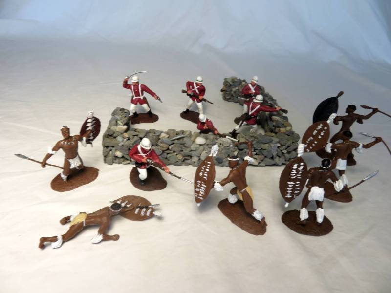 Zulu War Conte painted Natives + 24th Foot, 1/32, plastic